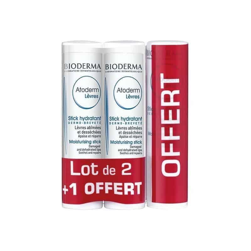 Bioderma Atoderm Stick Lèvres 4g Lot de 2 + 1 offert