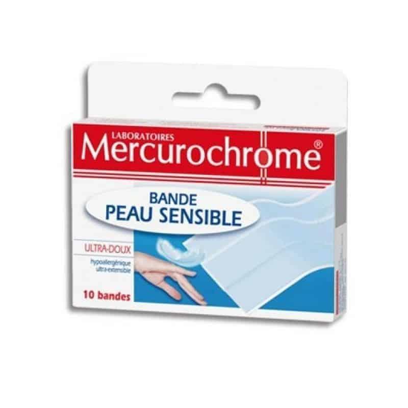 Mercurochrome Pansements Bande Peau Sensible boite de 10
