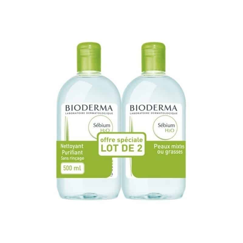 Bioderma Sébium H2O Solution Micellaire Lot de 2 x 500ml