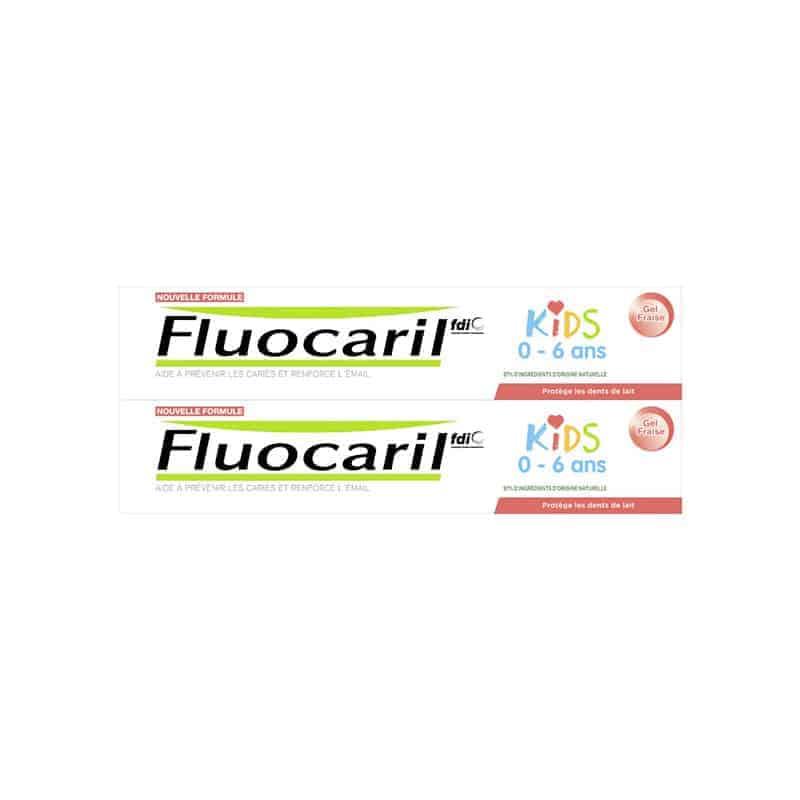 Fluocaril Dentifrice Kids Gel Fraise Duo 2x50ml