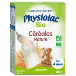 Physiolac Bio Céréales Nature Dès 4 mois 200g