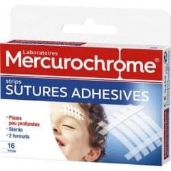 Mercurochrome Strips Sutures Adhésives 16 strips