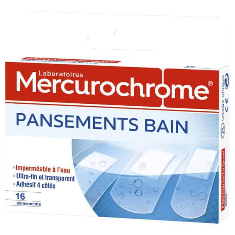 Mercurochrome Pansements Bain 3 tailles Boîte de 16