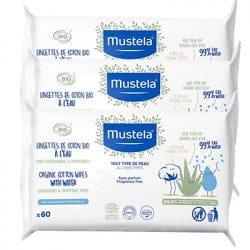 Mustela Lingettes Bio à l'Eau lots de 3x60 lingettes