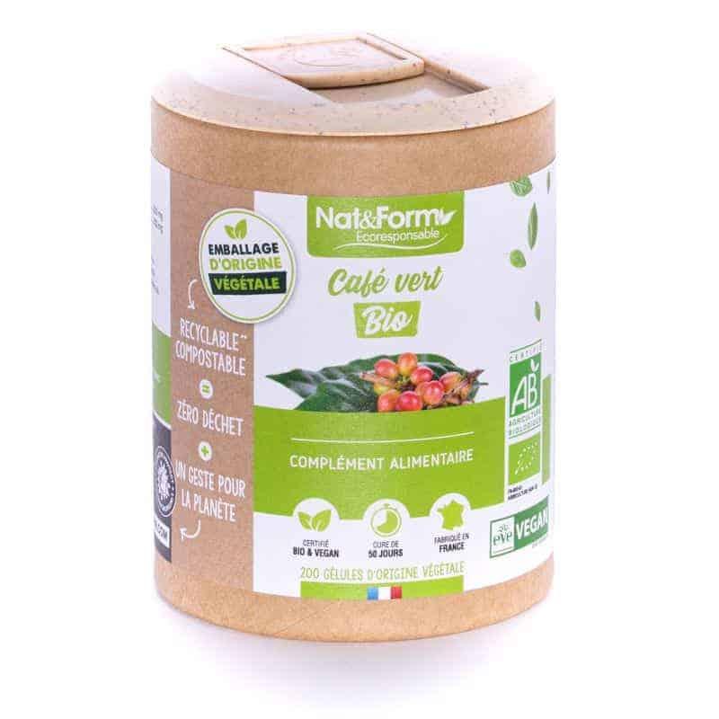 Nat&Form Ecoresponsable Café Vert Bio 200 Gélules