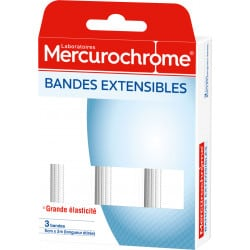 Mercurochrome Bande Extensible 7cmx2m Boîte de 3 bandes