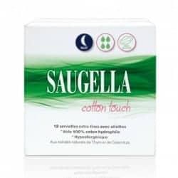 Saugella Cotton Touch 12 Serviettes Extra Fines Nuit Avec Ailettes